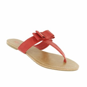 Red Circle Footwear Bow Casual Daily Summer Red Sandals