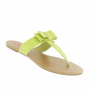 Red Circle Footwear Bow Casual Daily Summer Lime Sandals