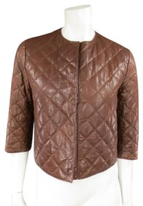 Brunello Cucinelli Quilted Snap Collarless Brown Leather Jacket