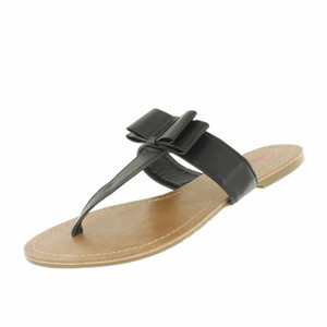 Red Circle Footwear Bow Casual Sandal Daily Black Sandals