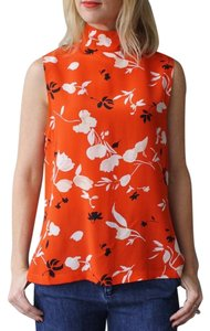 Ganni Printed Silk Sleeveless Top Orange