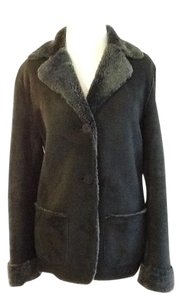 Barneys New York Dry Clean Suede Made In Black gray Leather Jacket