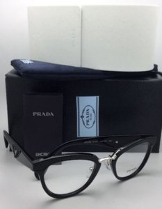 Prada PRADA RX-able Eyeglasses VPR 26S 1AB-1O1 Black-Black Leather & Silver