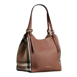 Burberry House Check Check Tote in Brown Tan