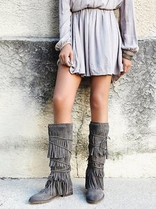 Farylrobin For Free People Songbird Grey Suede Sz 10 Boots