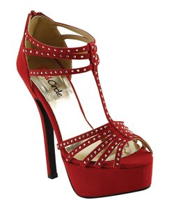 Red Circle Footwear Dressy Strappy Prom Party Hi Heel Red Platforms