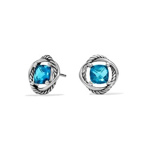 David Yurman infinity Stud Earrings with Blue Topaz