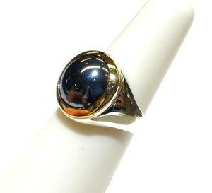 Tiffany & Co. Tiffany & Co 18K Gold Sterling Silver & Hematite Stone Vintage Ring Sz 5.5