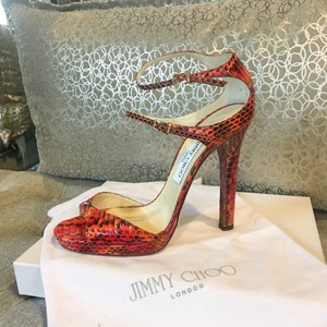 Jimmy Choo Red Orange Sandals