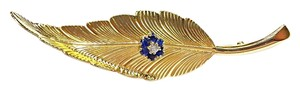 Tiffany & Co. Tiffany & Co 14K Gold Vintage Leaf Pin With Diamond & Sapphires
