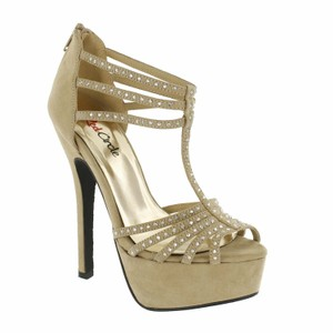 Red Circle Footwear Dressy Strappy Prom Party Taupe Platforms