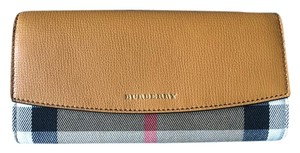Burberry House Check Leather Wristlet in Cognac