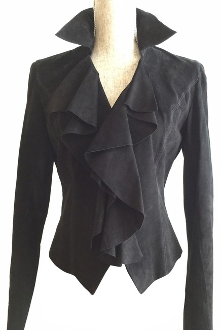 Ideology Suede Black Ruffled Suit Jacket (Size Small)