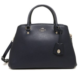 Coach Gold Hardware Leather Satchel in Dark Navy