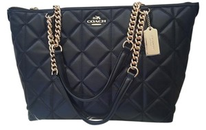 Coach Leather Zip Gold Chain Strap Quilted Tote in Black