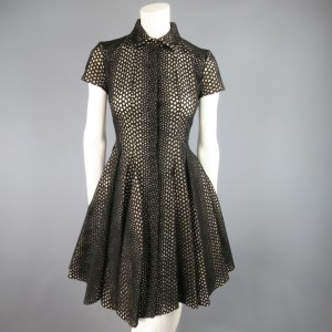 Giambattista Valli Lace Shirt Pleated Skirt Ruffle Collar Dress