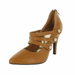 Red Circle Footwear Pointy Pump Triple Straps Tan Pumps