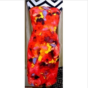 New York & Company Statement Watercolor Abstract Dress