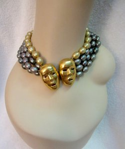 Isabel Canovas Isabel Canovas Mask Choker Necklace Layered Glass Baroque Pearl Rare