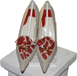 Alexander Thomas Red And Natural Linen Pointed Toe Natural/Red Pumps
