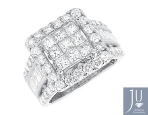 14k White Gold Invisible Princess Diamond Wedding Engagement Fashion Ring 3.0ct