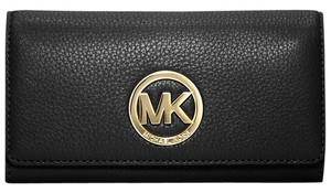 Michael Kors Fulton Carryall Black Leather Wallet with MK Gold Hardware 32F2GFTE3L