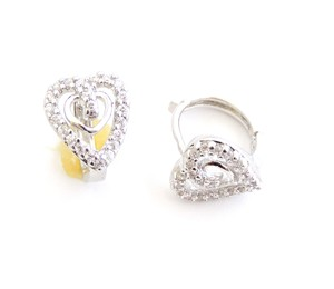 Rhodium Silver Hollow Double Heart Womens Stud Earrings