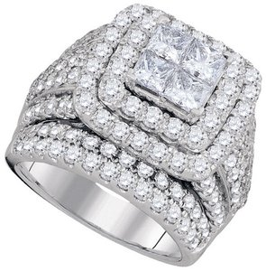 14k White Gold Ladies Princess Diamond Engagement Wedding Ring 3.0 Ct