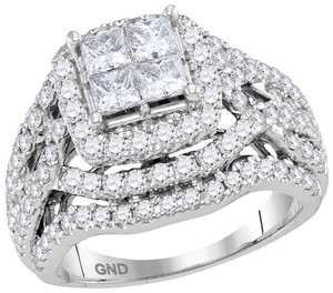 14k White Gold Ladies Engagement Fashion Ring 3.0 Ct