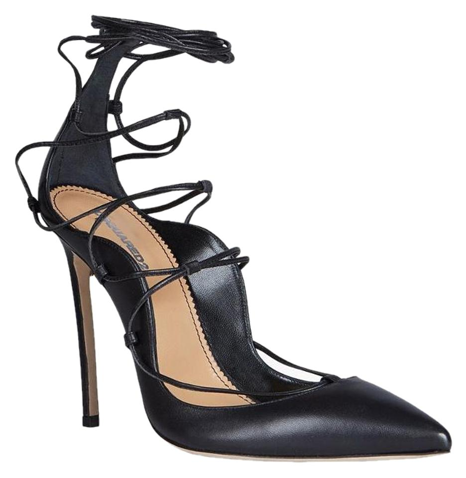01f8f04abb7a DSquared Black New Riri Pointed Toe Leather Lace Up Pump Sandals ...
