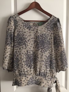 Maple Silk Boho Top Grey and beige