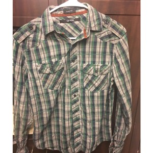 Men Polo Checkered Western Button Down Shirt Green