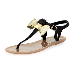Kate Spade Jelly Bow New York Black, Tan, Gold Sandals