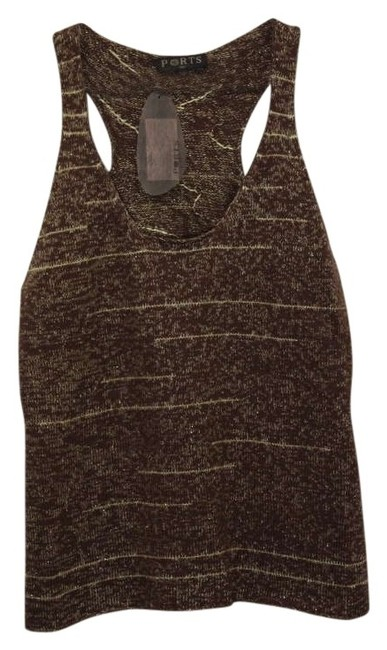Ports 1961 Designer Sweater Summer Sweater Space Dye Knit Racerback Top brown/gold