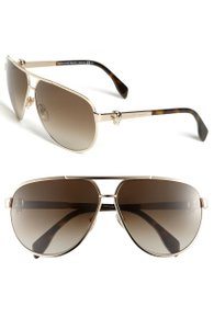 Alexander McQueen 65Mm Skull Temple Metal Aviator Sunglasses