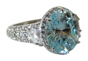 Other Absolute 7.17ctw Simulated Aquamarine Sterling Silver Rinn