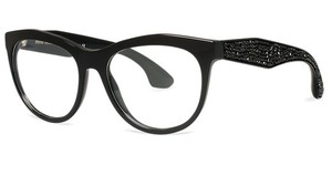 Miu Miu NEW Miu Miu VMU 08N Black Swarovski Crystal Cat Eye Frames