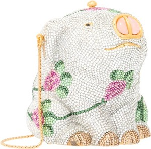 Judith Leiber Floral Pig Minaudiere Evening Crystal Satchel in Silver