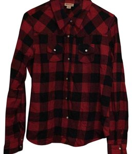 Mossimo Supply Co. Button Down Shirt Black and Red check