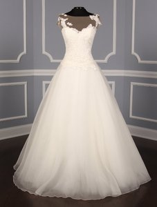 Romona Keveza Ivory Silk Organza and Corded Lace L5134 Formal Wedding Dress Size 10 (M)