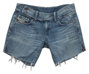 Diesel Designer Cutoff Boyfriend Denim Shorts-Medium Wash
