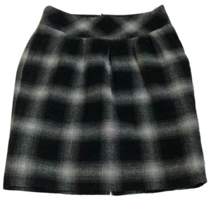 Ann Taylor LOFT Wool Plaid Mini Skirt Black & Gray
