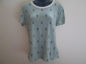 Urban Outfitters Anchor Nautical Striped Knit T Shirt Green & White