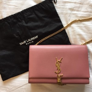 Saint Laurent Leather Monogram Tassel Cross Body Bag