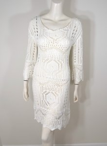Neiman Marcus Knit Crochet Sweater Dress