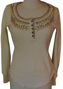 Free People Thermal Longsleeve Button Down Shirt Ivory