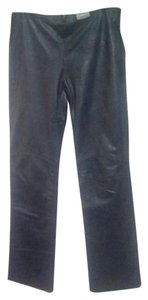 Shoshanna Leather Straight Pants Navy