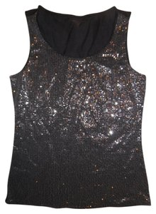 Coldwater Creek Tank Sparkle Sequined Top Black