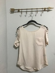 Lush Dryclean Only Cut-out Pocket Top Beige