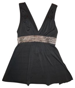 XOXO Cami Tank Satin Ribbon Stretch Top Dark Gray